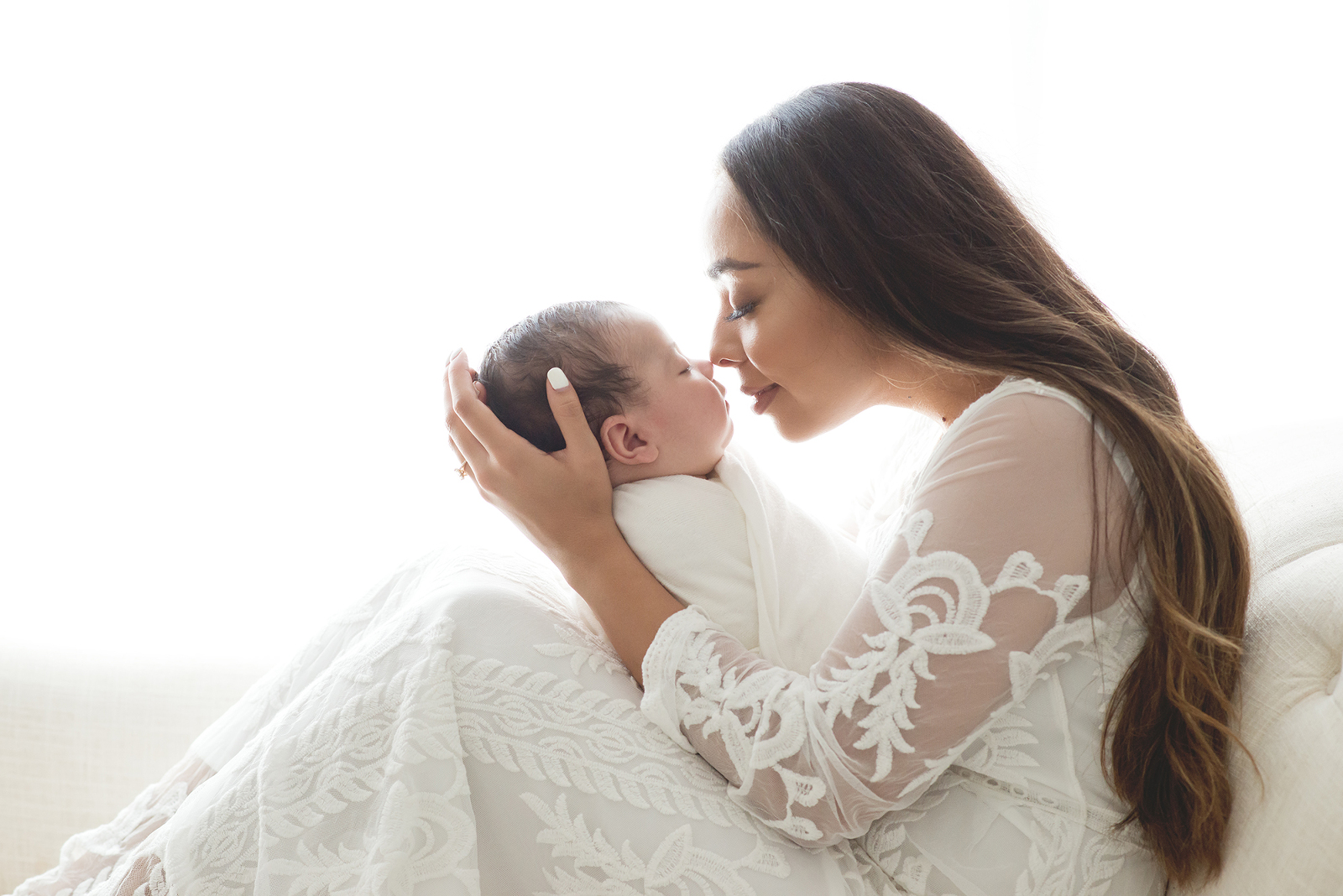 3 month old baby photos with mom in white lace dress